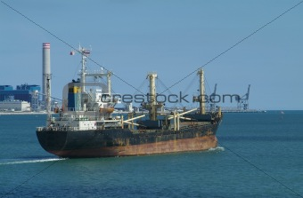 Freight ship leaving port