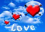 hearts pierced arrows in sphere