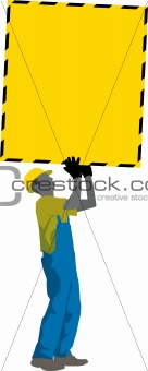Construction Worker holding Poster