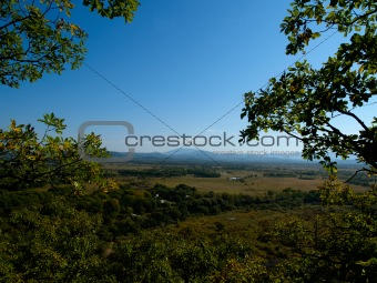 autumn countryside panorama with blue sky