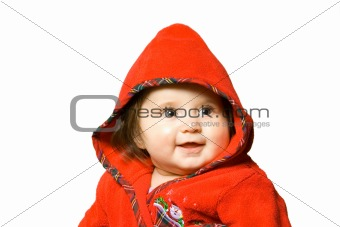 adorable baby in red bathrobe