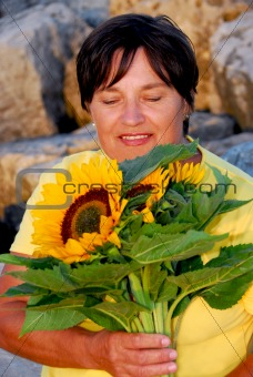 Mature woman flowers