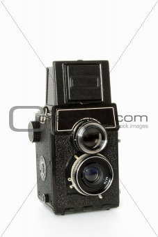 Old twin-lens reflex camera