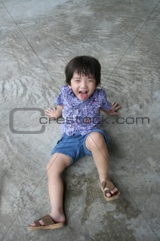 Boy happily making funny face