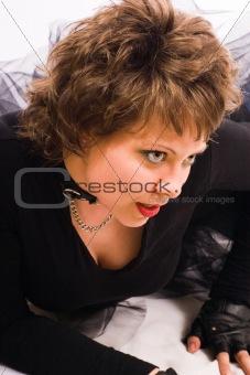 attractive girl lying