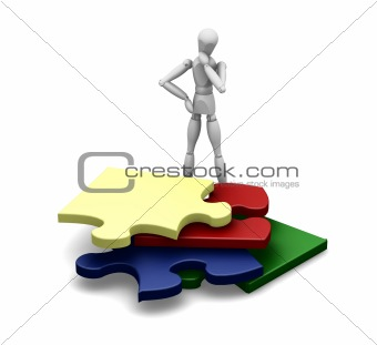Man with puzzle pieces