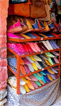 Arab shoe shop in Agadir, Morocco