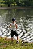 Boy Fishing During Summer