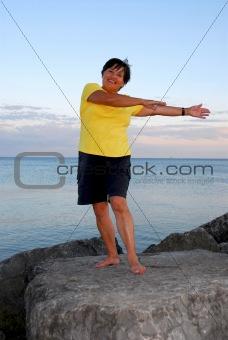 Mature woman exercising