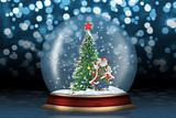 Glass sphere with fir-tree and santa abstract background