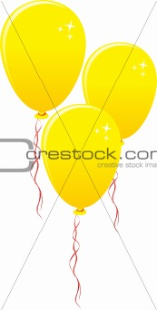 Three gold balloons