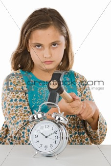 Beautiful girl with clock and hammer