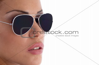 close view of model wearing sunglasses