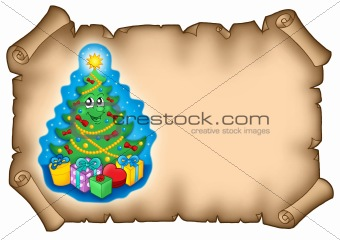 Parchment with Christmas tree