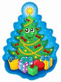 Smiling Christmas tree with gifts on blue sky