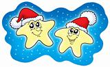 Stars in Christmas caps on blue sky