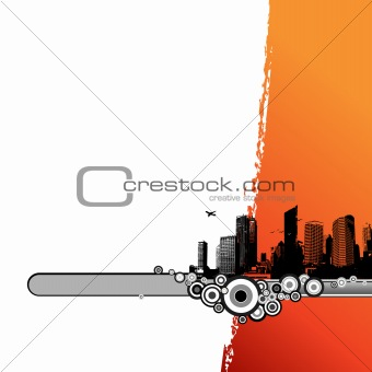 Black city with orange stripe. Vector