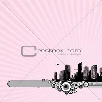 Black city on pink background. Vector