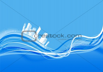 City with abstract lines. Vector