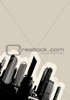 Black city in the corner. Vector art