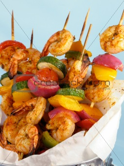 Shrimp &amp; Vegetable Kebabs