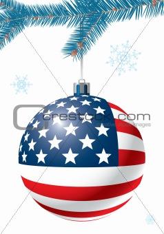 Christmas ball with US flag.
