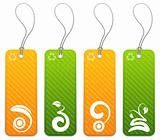 Set of 4 green and orange tags