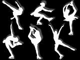Ice skater silhouettes