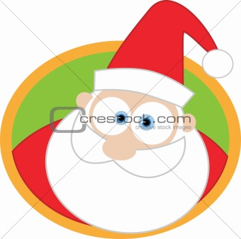 Santa face with round background