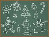 Christmas icon on Chalkboard