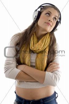 portrait of pretty woman wearing headphones