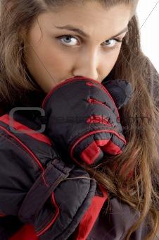 close up of beautiful female feeling cold