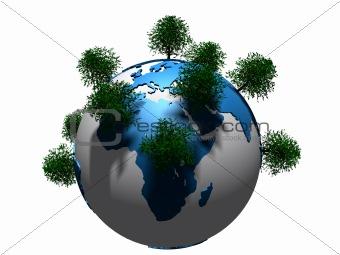 trees on globe