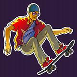 Young skateboarder jumping