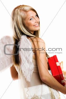 angel with wings and a gift