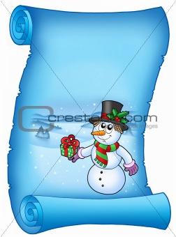 Blue parchment with Christmas snowman