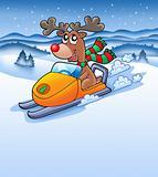 Christmas reindeer in snowy landscape