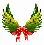 vector wings wreath from green leafs