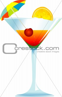 Cocktail with Umbrella, Cherry