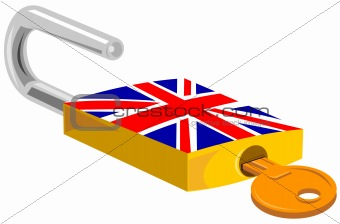 Padlock with British flag