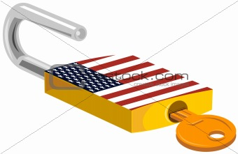 Padlock with American flag