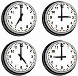 Clock showing different times