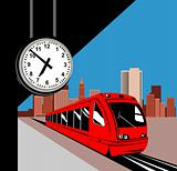 Train in the station with clock