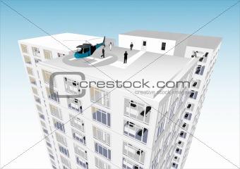 Skyscraper with Chopper Heliport