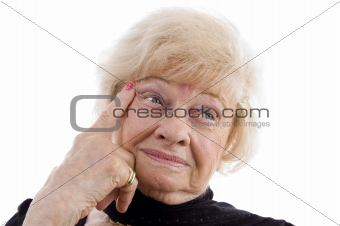 close up of thinking old woman