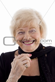 portrait of laughing old female