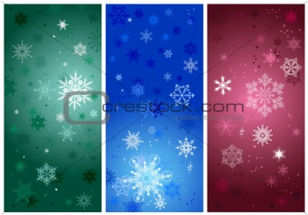 beautiful cold crystal gradient snowflakes - vector illustration