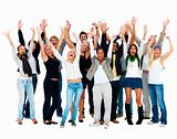 Group of smiling friends standing against white background and r