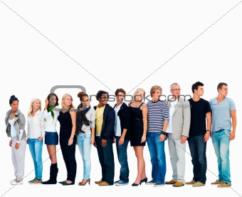 Group of smiling friends standing against white background and l