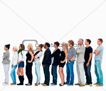 Group of friends standing in a row against white background